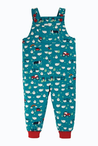 Frugi GOTS Organic Long Wear Dungarees - Blue Tractor