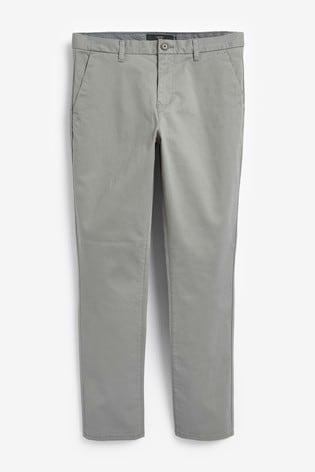 Grey Straight Fit Stretch Chinos