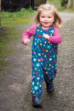 Frugi Organic Cotton Lined Cord Dungarees - Blue Rainbow Star