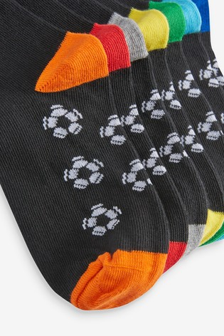 Black Football 7 Pack Cotton Rich Footbed Socks (Older)