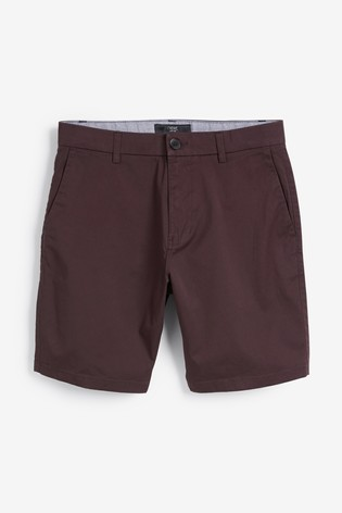 Burgundy Straight Fit Stretch Chino Shorts