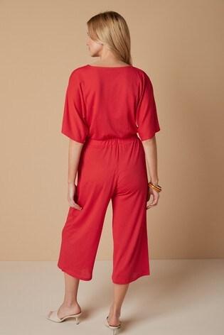 Red Wrap Jumpsuit