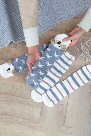Set of 2 Bear Bed Socks by Solesmith