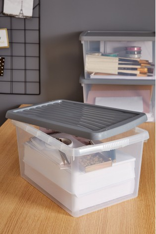 Set of 3 Wham 16Ltr Plastic Storage Boxes And Lids