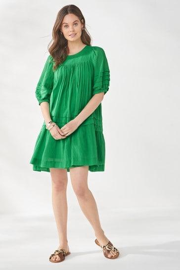 Green Pintuck Dress