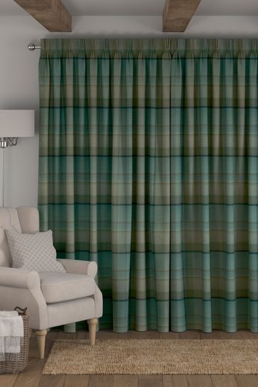 Teal Green Marlow Check Made To Measure Curtains