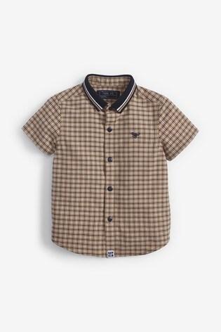 Tan Check Short Sleeve Shirt With Jersey Collar (3mths-7yrs)