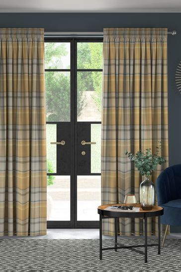 Ochre Yellow Marlow Check Made To Measure Curtains