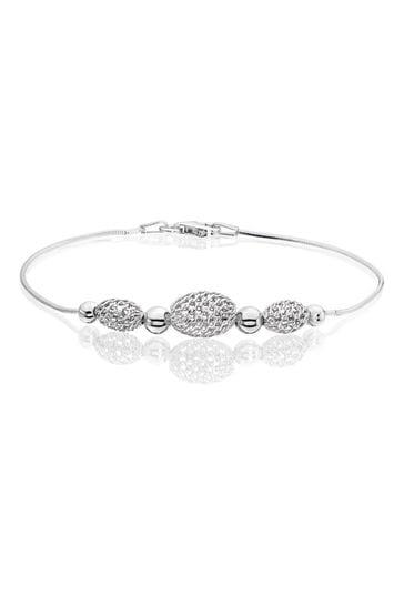Beaverbrooks Silver Mesh Bead Bracelet