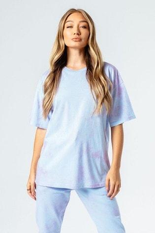 Hype. Womens Blue/Pink Tie Dye Oversized T-Shirt