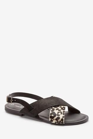 Monochrome Animal Regular/Wide Fit Forever Comfort® Cross Front Slingbacks