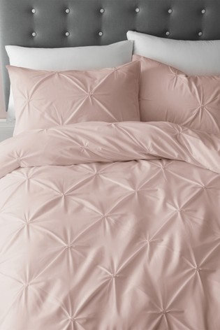 Catherine Lansfield Pink Pinch Pleat So Soft Easy Care Duvet Cover and Pillowcase Set