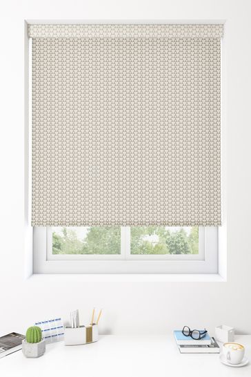 Triangles Taupe Natural Made To Measure Roller Blind