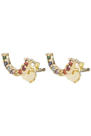 Oliver Bonas Rainbow Stone Inlay Gold Plated Stud Earrings