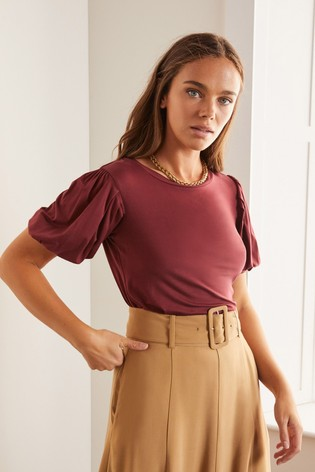 Boden Brown Holly Puff Sleeve Jersey Top