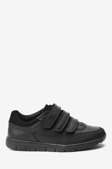 Black Wide Fit (G) Thinsulate™ Lined Leather Strap Touch Fasten Shoes