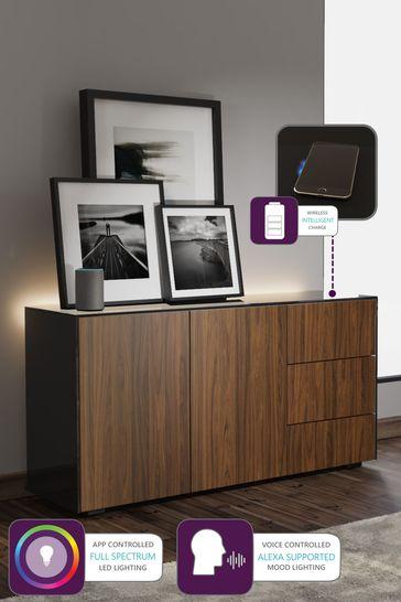 Frank Olsen Smart LED Black and Walnut Sideboard