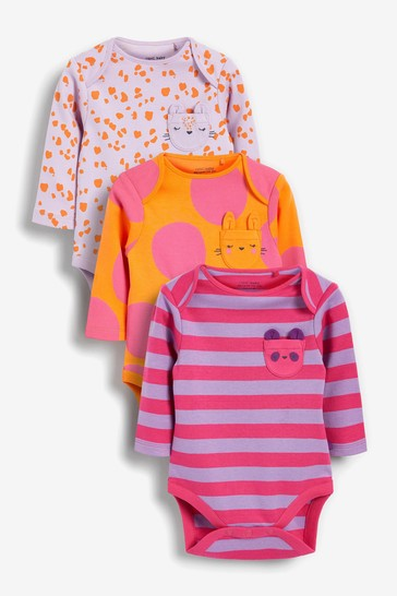 Bright Abstract 3 Pack Long Sleeve Bodysuits (0mths-3yrs)