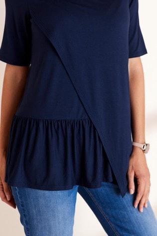 Navy Maternity Nursing Ruffle T-Shirt