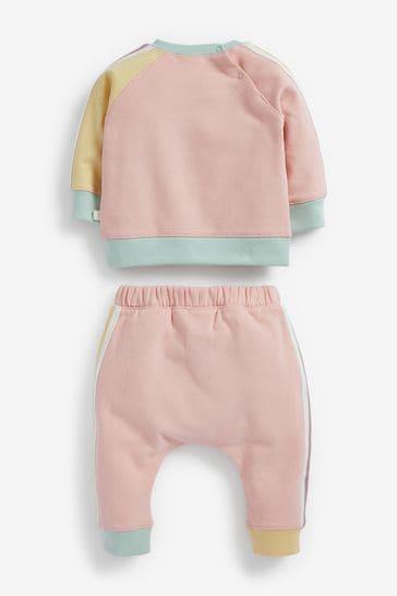 Multi Pastel Colourblock Sweatshirt And Joggers Set (0mths-2yrs)