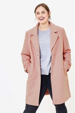 Oasis Pink Curve Button Coat