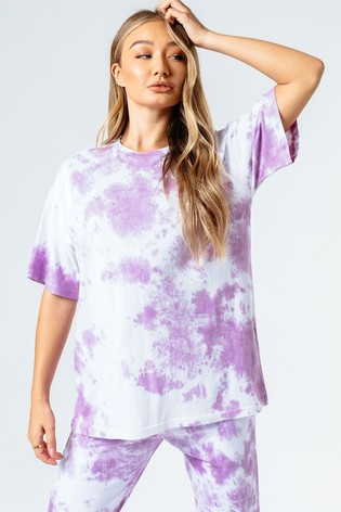 Hype. Womens Pink Tie Dye Oversized T-Shirt
