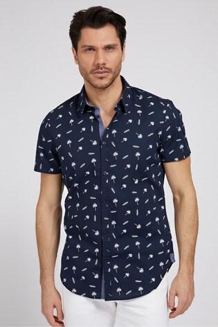 Guess Navy Micro Surf Short Sleeved Shirt
