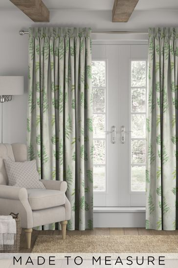Fern Print Green Made To Measure Curtains