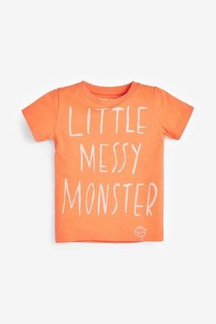Orange Little Messy Monster T-Shirt (3mths-7yrs)