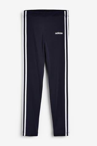 adidas Navy 3 Stripe Linear Logo Leggings