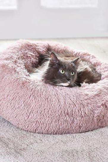 Faux Fur Pink Pet Bed