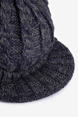 Navy Beanie Hat With Peak (Older)
