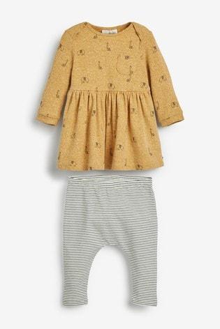 Ochre Giraffe Dress and Leggings Set (0mths-3yrs)