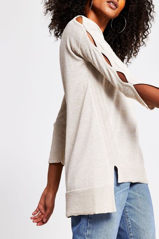 River Island Gold Cut Out Sleeve Jumper
