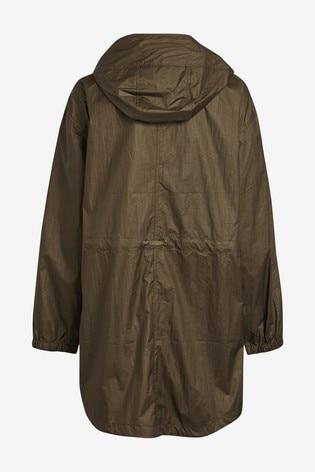 Khaki Metallic Shower Resistant Rain Mac