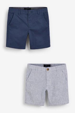 Blue/Neutral 2 Pack Chino Shorts (3-16yrs)