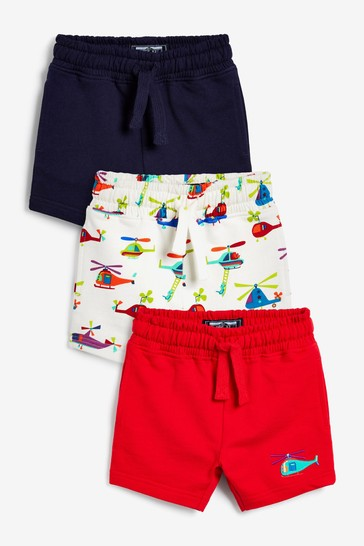 Red/Navy/White Printed 3 Pack Jersey Shorts (3mths-7yrs)