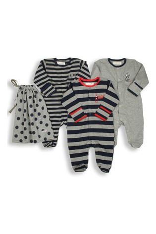 The Essential One Baby Boys Stripey Sleepsuits Three Pack