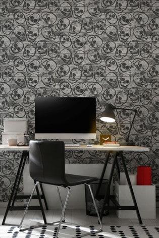 Art For The Home Grey Fresco Skull Wall Wallpaper