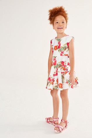 Baker by Ted Baker Girls White Floral Dropped Waist Dress