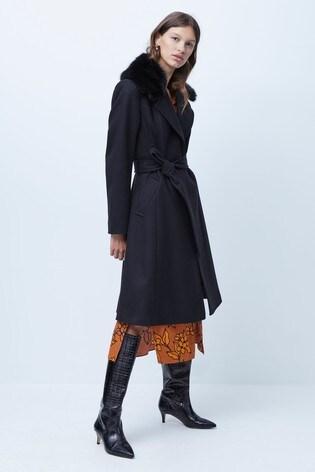 French Connection Amalia Platform Faux Fur Collar Coat