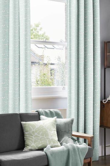 Saplings Pale Aqua Orange Made To Measure Curtains by MissPrint