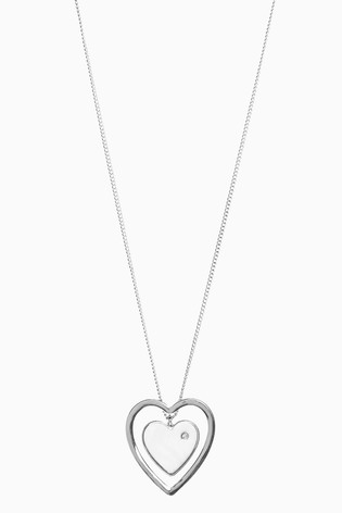 Silver Tone Heart Pendant Long Necklace