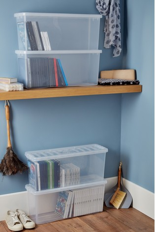 Set of 4 Wham Crystal (DVD) Deep Shelf Plastic Storage Boxes & Lids
