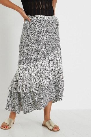 Oliver Bonas White Floral Print & Polka Dot Frill Midi Skirt