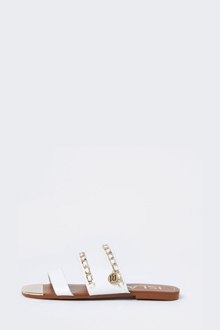 River Island White Chain Branded Mules