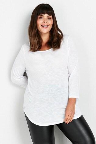Evans Curve White 3/4 Sleeve T-Shirt
