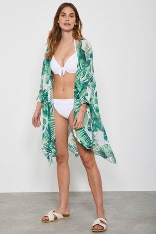 Mint Velvet Green Aribella Palm Print Kimono