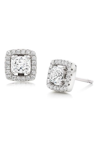Beaverbrooks Silver Cubic Zirconia Square Halo Stud Earrings