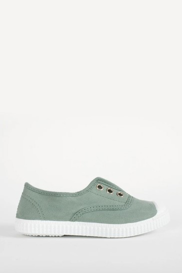 Trotters London Olive Plum Canvas Shoes